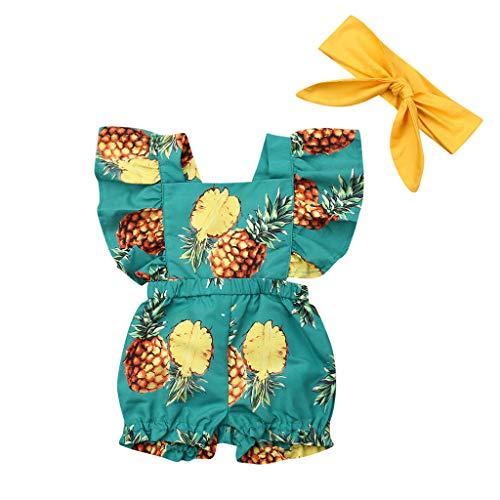 Luckycat Ropa Bebe Niña Verano 2019 Monos de 6M-3Y Recién Nacido Peleles Piña y Pinza para el Cabello Body Body Infantil para bebés recién Nacidos con Volantes Mamelucos sin Mangas Mono Trajes Ropa