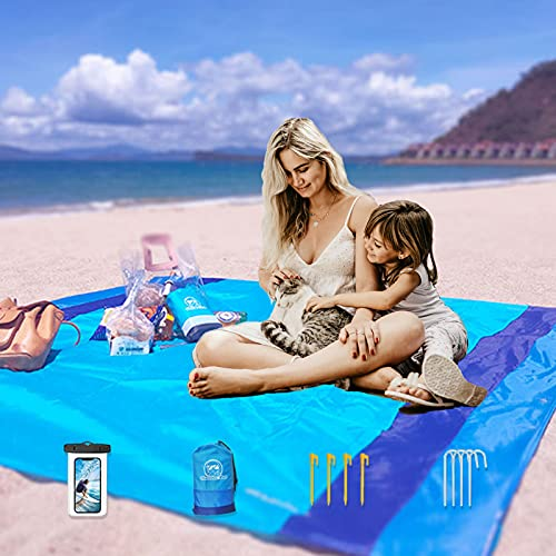 Buddha Lab Beach Blanket Extra Large Beach Mat up to 7 Person Waterproof Summer Outdoor Friend 83'' x 79'' (Extra Large, Blue)