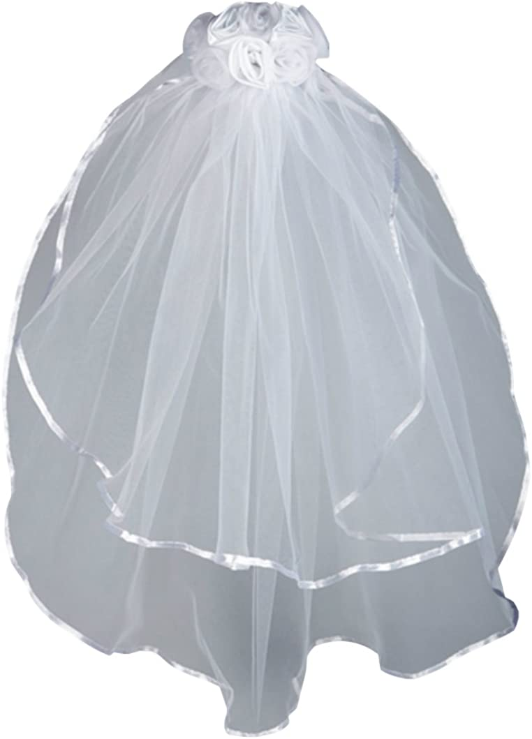 Satin and Sheer Rosebuds First Communion Veil26