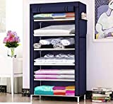 Keekos Fancy and Portable Foldable Collapsible Closet,Cabinet Collapsible Wardrobe Organizer,Multipurpose Storage Rack for Kids and Women, Clothes Cabinet, Bedroom Organiser_6 Layer Navyblue