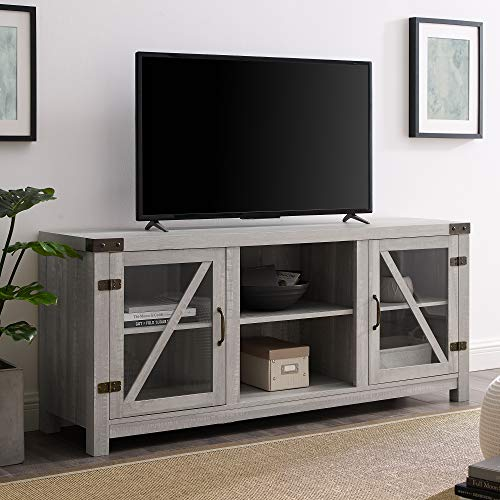 Walker Edison Furniture Company Farmhouse Barn Glass Wood Universal Stand for TV's up to 64' Flat Screen Living Room Storage Cabinet Doors and Shelves Entertainment Center, 58 Inch, Stone Grey