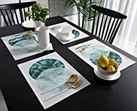 ランチョンマット 熱帯植物 シンプル 大理石 プレースマット お食事マット 食卓 飾り 断熱 テーブルマット おしゃれ 滑り止め 北欧 丸洗い 雰囲気アップ 家庭レストラン用 4枚