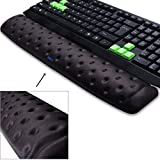 BRILA Keyboard Wrist Rest Support Cushion Pad for Computer, Laptop, Office Work, PC Gaming - Memory Foam Gel with Massage Holes Design - Non-Slip Easy Typing Wrist Pain Relief (Black Keyboard Pad)