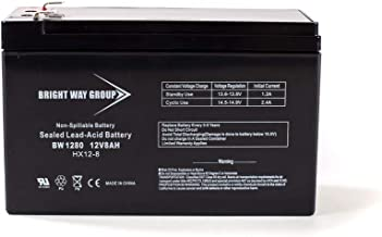 Bright Way Group BW1280 12V 8AH Rechargeable Sealed Lead Acid Battery for Home, Alarm, Security Systems with F1 Terminals, Spill and Leak Proof