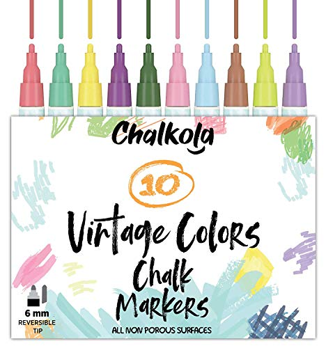Liquid Chalk Markers for Chalkboard, Blackboards, Window, Bistro (10 Vintage Colors) - Bold Dry Erase Marker Pens | 6mm Reversible Bold & Chisel Nib