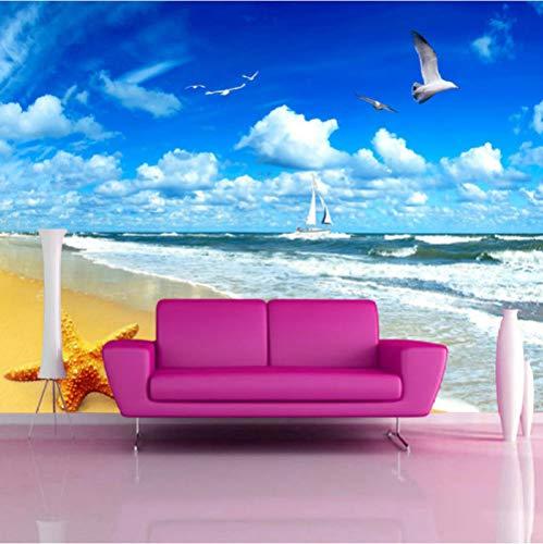 Finloveg Benutzerdefinierte Strand Landschaft Seestern Blauer Himmel 3D Foto Hintergrund Computer Drucken Wohnzimmer Tv Fotografie Hintergrundbild Tapete-400X280Cm