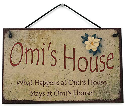 5x8 Vintage Style Sign with Magnolia Saying,'Omi's House What Happens at Omi's House, Stays at Omi's House!' Decorative Fun Universal Household Signs from Egbert's Treasures