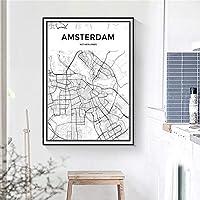 アムステルダム地図ミニマリストポスターオランダ都市地図壁アートパネル北欧黒と白キャンバス絵画インテリア都市交通写真モダン版画リビング ルーム寝室部屋装飾画