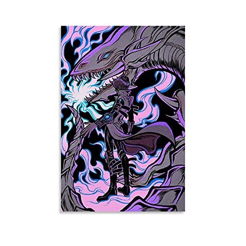 Anime-Duel Monsters, Seto Kaiba & Blauaugen weißer Drache, Dekoration auf Leinwand, Kunstdruck/Poster, 20 x 30 cm