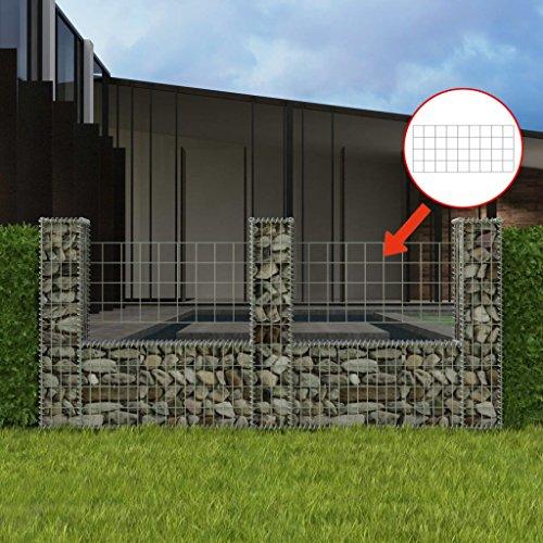 SENLUOWX Korb in U-Form für Mauer Gabionen 240x 20x 100cm Edelstahl