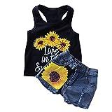 1-8T Toddler Girl Sleeveless Vest Tops +Floral Denim Shorts Outfits Set (2-3T,...