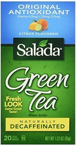 Salada Naturally Decaffeinated Original Antioxidant Green Tea Bags Citrus Medley 20 CT (Pack of 12)