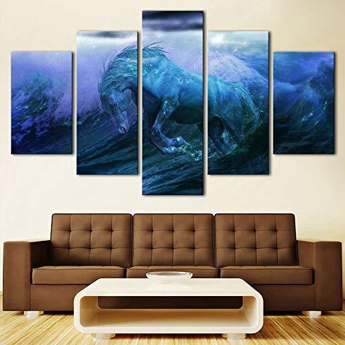 FDD5P Cuadro Lienzo,Mar, Caballo,Painting Pinturas murales Decoración Impresiones Home Sala de Estar Cocina Dormitorio,5 Partes/Sin Marco
