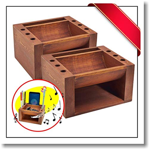 Innovatronix 2 Pieces Bamboo Wood Multi Purpose Sound Booster with Pen and Pencil Desk Office Organizer - Music Amplifier - Cellphone Accessories | 5x4x3 Inches