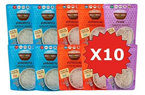 Miracle Noodle Pasta Shirataki di Konjac, Nuova Generazione, scatola assortita da 10 pacchetti da 200g cad.(contiene: 3 Spaghetti, 3 Fettuccine, 2 Penne e 2 Riso)