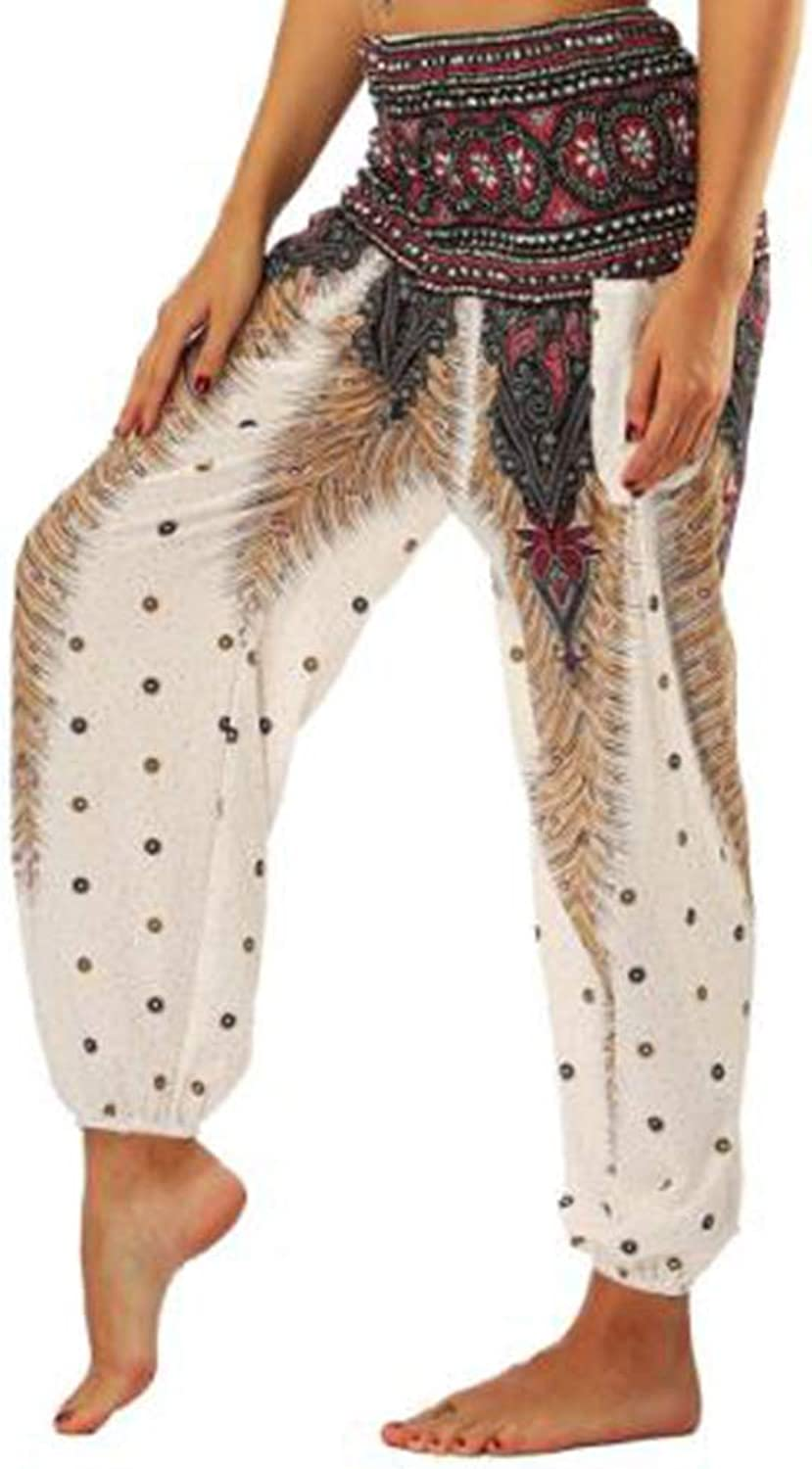 Huayue Yoga Pants Feather Digital Printed Bloomer Pants Bohemia Beach Pants for Fitness Printed Yoga Pants
