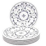 Kahla 160273A75019H Blau Saks XXL blauweiß Tellerset für 6 Personen Porzellan 6-teilig Speiseteller Blumendekor flach Teller rund Essteller