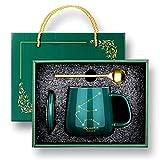 12 Constelación creativa taza de café de leche de cerámica con cubierta de cuchara 430 ml Acuario