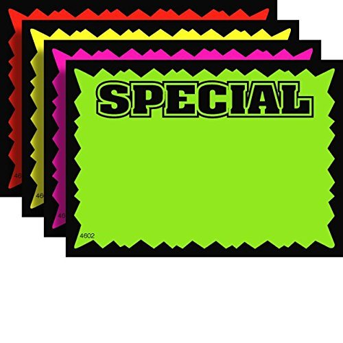 7' x 11' Special Rectangular Fluorescent Burst Neon Retail Sign Cards - Multi-Pack - 100 Total Cards