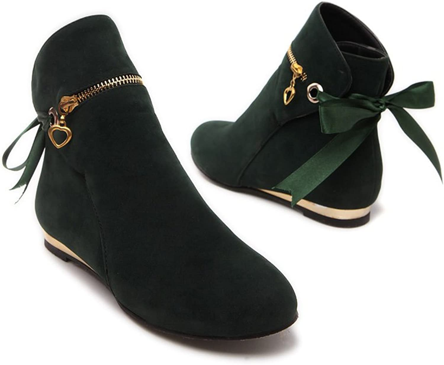 CHFSO Women's Sexy Solid Round Toe Bow Zipper Charms Low Heel Ankle Boots