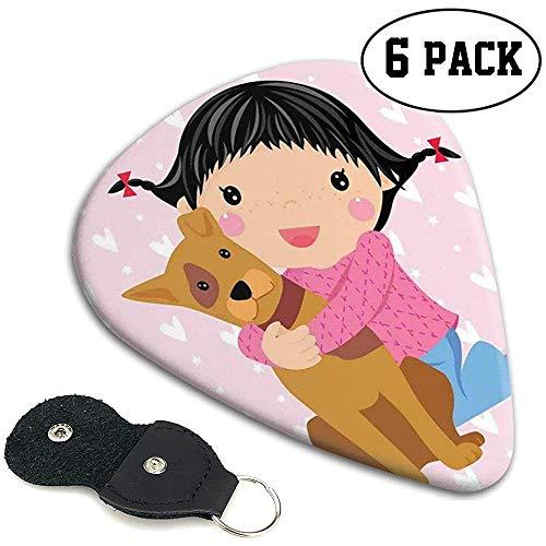 Gitaar Picks 6 stks, Leuke Kleine Meisje En Hond Knuffelen En Lachende Doodle Print Met Hartjes Achtergrond