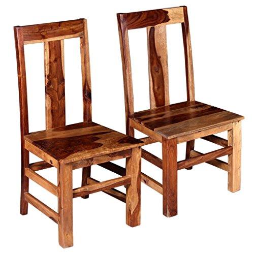 Tidyard 2-teilige Esszimmerstuhl-Set Stühle Holzstühle Küchenstuhl Mit hoher Rückenlehne,Esszimmerstühle Sitzgruppe 44 x 54 x 100 cm,Massives Palisander-Holz mit honigfarbenem,mattem Finish