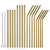 berglander riutilizzabile d'oro cannucce in acciaio inossidabile cannucce curve e dritte metallo cannuccia per cocktail, succhi e bevande calde, 18 pezzi