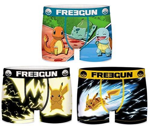Freegun Boxershorts für Herren, 3 Stück Gr. S, Pokemon Serie 1