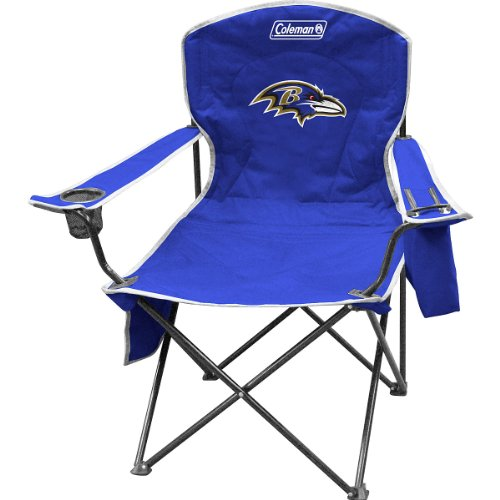 Coleman NFL Cooler Quad Folding Tailgating & Camping Chair with Built in Cooler and Carrying Case, Baltimore Ravens