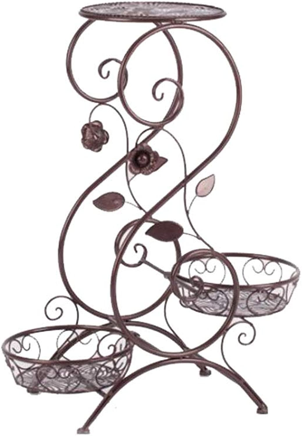 MBD S-Shaped European Iron 3 Layer Plant Pot Holder Rack for Living Room Bedroom Balcony Indoor Brown 25.6  12.6  9.4in