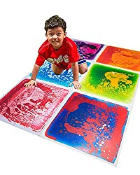 Art3d 6-Tile Sensory Room Tile Multi-Color Exercise Mat Liquid Encased Floor Playmat Kids Play Floor Tile, 16 Sq.Ft