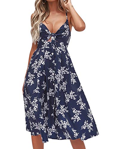 FANCYINN Kleid Damen Sommer Knielang Dekoltee V-Ausschnitt Sommerkleid Midi Träger Rückenfreies A-Linie Kleider Strandkleider Marineblau