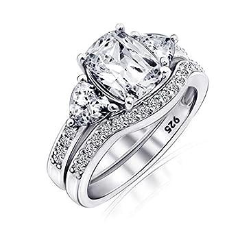 Diamonbliss Platinum Plated Silver 2.95 cttw Cubic Zirconia 100-Facet Bridal Ring Set  8