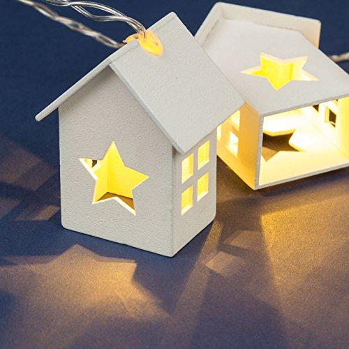 Guirlanda con 6 casitas de madera con estrellas, 1 m, a pilas,...