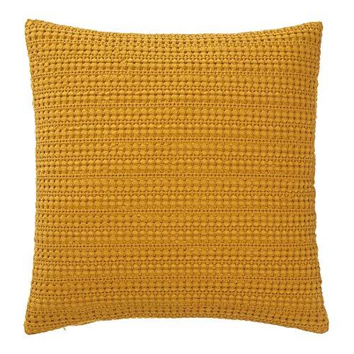 URBANARA Sofakissen/Dekokissen Anadia - 100% Reine Baumwolle, Senfgelb mit umgekehrtem Waffelmuster, Stonewashed-Effekt – 50 x 50 cm, 1 Kissenbezug