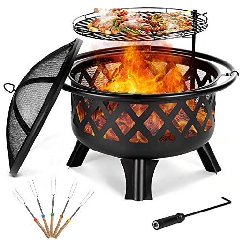 Outdoor Fire Pit With BBQ Grill, Patio Heaters Log Wood Burner Round Fire Bowl With Spark Screens Lid Cooking Grate Poker Large Steel Firepit For Outside Garden Camping Bonfire Black dia 76CM