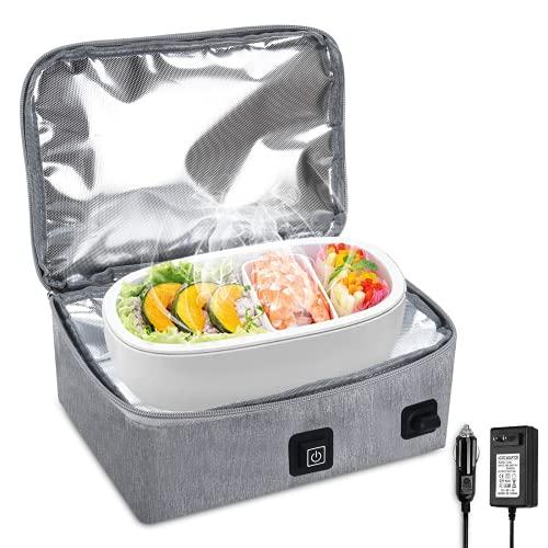 Kowth Calentador de alimentos eléctrico, fiambrera térmica de 12 V / 220 V 2 en 1 para coche, camión, oficina, microondas portátil para hombres y mujeres fiambrera de doble voltaje