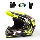 MRDEAR Casco de Motocross Hombre (Gafas/Mascarilla/Guantes, 4 Pcs) - Negro y Amarillo/Dot Certificado - Casco MTB Integral Infantil Off-Road Enduro Racing Scooter Motocicleta Quad para Niño Adulto,L