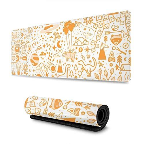 Patrón de diseño de Objetos Naranjas XXL XL Alfombrilla de ratón Grande para Juegos Alfombrilla de ratón Larga y extendida Alfombrilla de Escritorio Goma Antideslizante