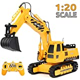 RACPNEL Remote Control Excavator Toys 1:20 RC Excavator, 2.4GHz Fully Functional Construction Vehicles Toys Truck with Rechargeable Battery, Birthday Gift for Boys and Girls, Kids (1:20)