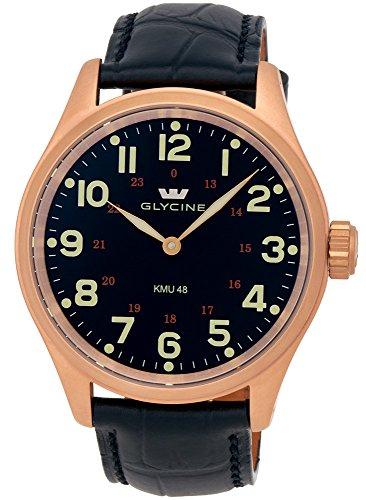 Glycine KMU 48 Kriegs Marine Uhren Rose Gold Plated Steel Mens Watch 3906.29AT LBK7D