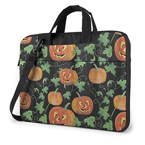 Halloween Pumpkins Leaf Laptop Bag Protective Case Computer Messenger Briefcase Women Men 15.6'