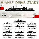 Wandaro Wandtattoo Skyline Leipzig I schwarz (BxH) 140 x 34 cm I Wohnzimmer Städte der Welt selbstklebend Aufkleber Wandsticker Wandaufkleber Sticker W3290