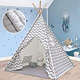 Teepee Tent for Kids with Mat- Play Tent for Boy Girl Indoor & Outdoor, Gray Chevron Heavy Cotton Canvas Teepee