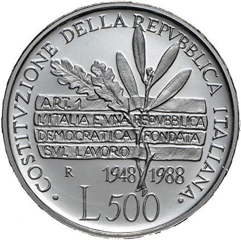 Italia 500 lire Argento'Costituzione della Repubblica Italiana' Fior di Conio FDC (11 gr. - 29 mm.) anno 1988 UNA MONETA da collezione Silver Coin IN CONFEZIONE ORIGINALE della Zecca