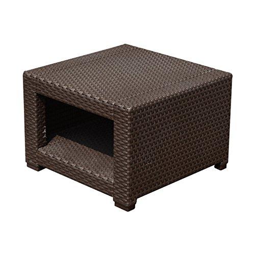 Outsunny Tavolino da Giardino Staccabile in Rattan 56x 56x 44,5cm Marrone