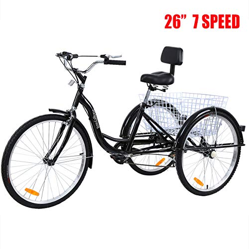 Iglobalbuy Adult Tricycle 7 Speed Cruise Bike 26 inch 3 Wheeled Bicycle with Large Size Basket,...