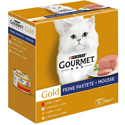 PURINA Gourmet Gold Fina Pastete Gato Comida húmeda para Gatos, Mezcla de variedades (12 x 8 latas de 85 g)