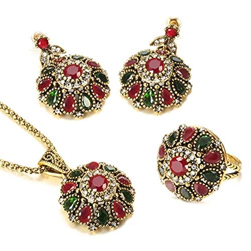 Nicey Joyas de la joyería de la Flor de la Flor de Cristal de la Novia étnica Conjuntos de joyería Antiguos del Collar de Oro para Las Mujeres Boho Jewelry Wholesale