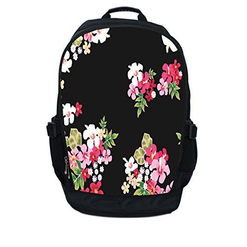 Luxburg luxe ontwerper rugzak/rugzak voor 17-inch laptop - bloemen op zwarte achtergrond